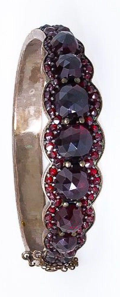 Spectacular Bohemian Garnet Bangle Bracelet - 40-1-1212 - Lang Antiques