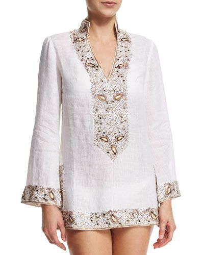 TBHK0 florabella Viceroy Beaded Linen Short Coverup Tunic, White