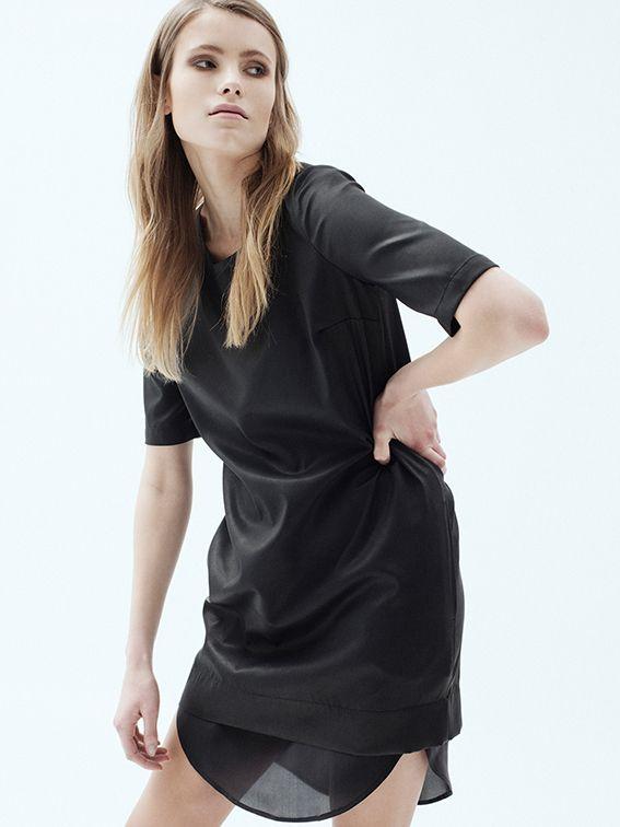 Satin a'la leather finish mini dress
