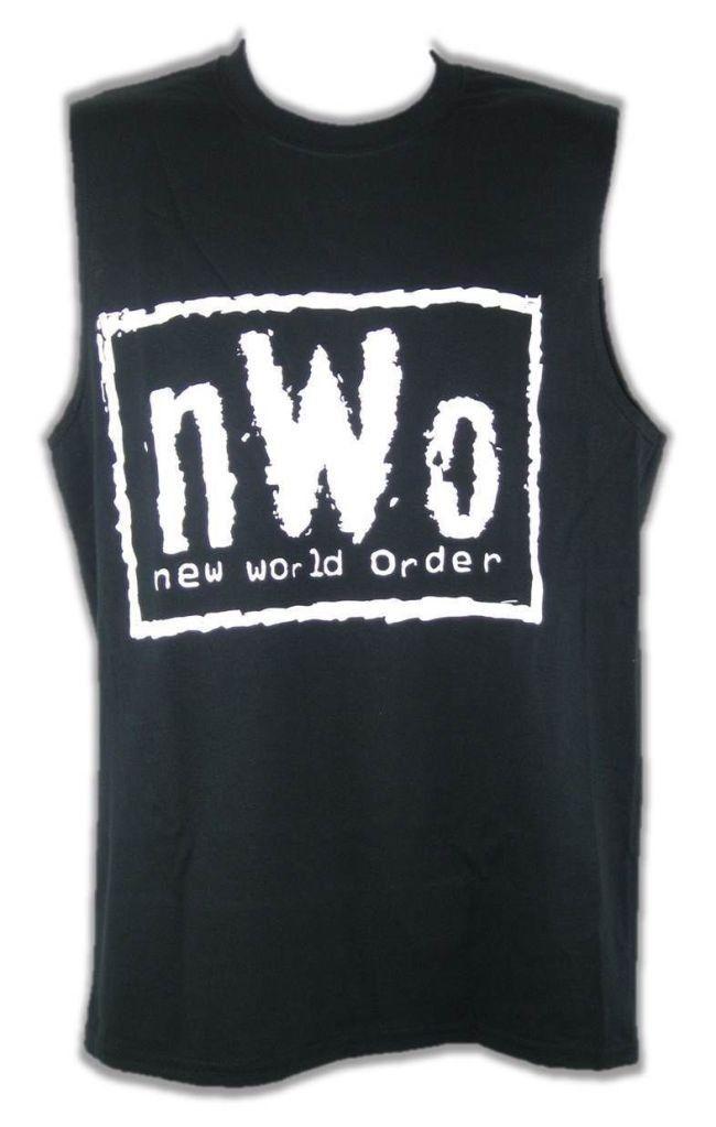 nWo White Logo Sleeveless Black Muscle T-shirt Mens
