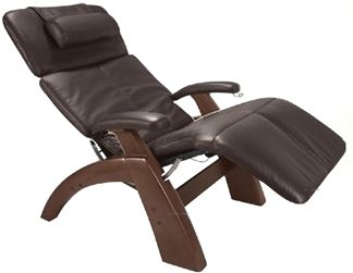 the human touch power electric perfect chair recliner walnut recline wood base black leather pads interactive health zero anti gravity chair