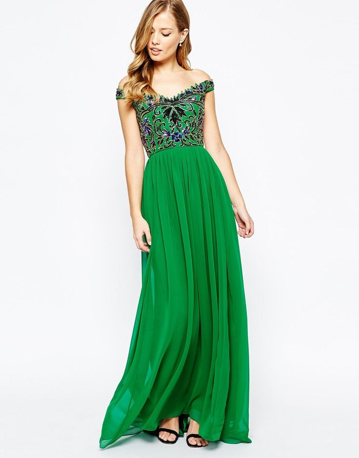 Image 4 of Virgos Lounge Gracie Embellished Bardot Pleated Maxi Dress
