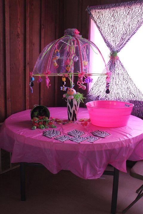 Baby Shower Decoration Umbrella zebra print baby shower. umbrella decorated with baby things for