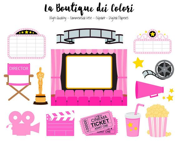 Pink Movie Theater Clip Art Cute Vector Graphics Png Film Camera Popcorn Director The Oscars Awards Cinema Clip Art Commercial Use Pink Movies Clip Art Movie Theater
