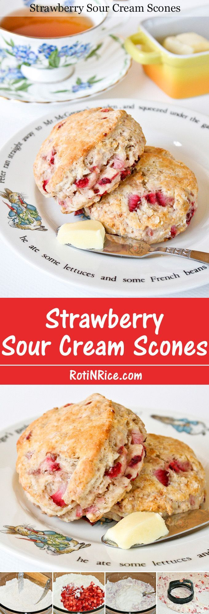 Soft, buttery, eggless Strawberry Sour Cream Scones with an almost cake-like texture. Delicious eaten warm with butter and a cup of tea. | RotiNRice.com (when I use sour cream I cut it into the dry ingredients before adding liquid.)