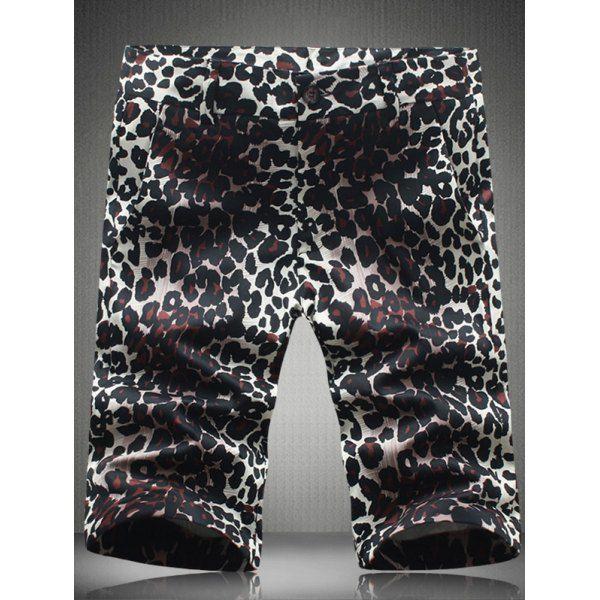 Fashion Plus Size Straight Leg Leopard Pattern Zipper Fly Men's Shorts #women, #men, #hats, #watches, #belts, #fashion