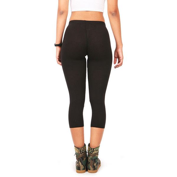 Pink Ice Basic Midway Leggings ($7.99) ❤ liked on Polyvore featuring pants, leggings, bottoms, stretch waist pants, mid calf pants, cotton leggings, calf length leggings and womens trousers