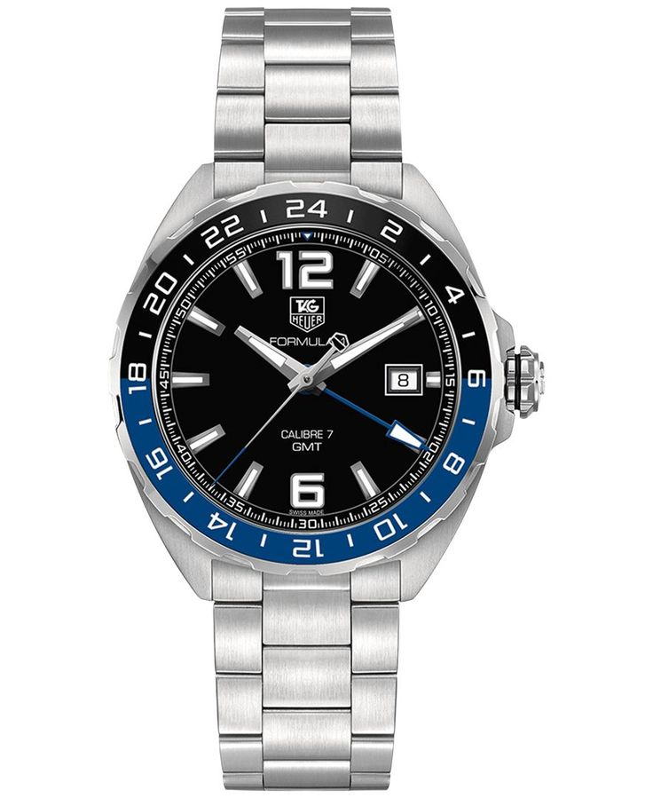 Tag heuer men 39 s swiss automatic formula 1 calibre 7 gmt stainless steel bracelet watch 41mm for Tag heuer c flex