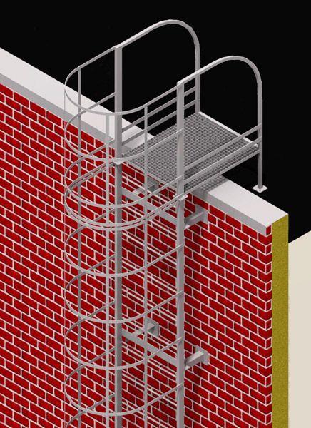 Вертикальная металлическая пожарная лестница