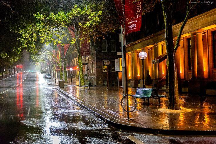 Ulica, Deszcz, Domy, Ławki