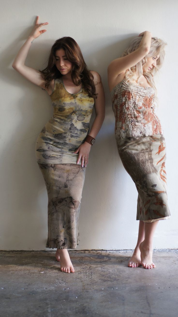 Gracie and Val wearing Eco Dye tops combined with our very comfortable Eco Dye Skirts