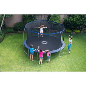 BouncePro 14' Trampoline with Steel Flex Enclosure and Electron Shooter, Dark Blue