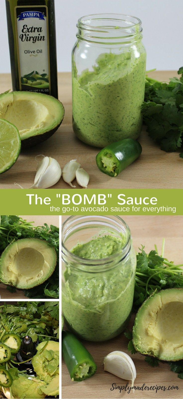 Bomb Sauce 1 avocado 1/2 cup extra virgin olive oil 1/2 jalapeno 3 garlic cloves 1/2 bunch cilantro 1/2 fresh squeezed lime