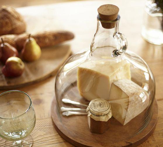 Wine Bottle Jug Cloche Cheese Platter | Pottery Barn