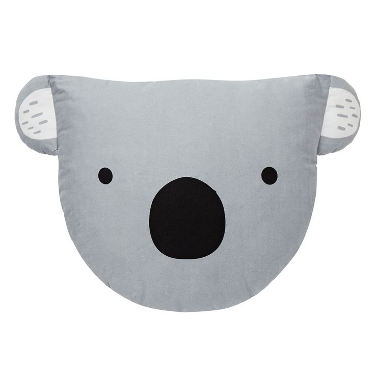 100% Cotton Cushion. Polyester wadding. Novelty Koala cushion with printed face on front and applique ears. Available in Pale Grey. Measures: 24cm x 36cm. One size only.