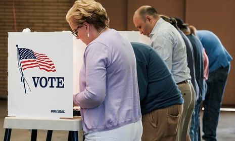 Voters cast their ballots in the 2016 presidential election at a fire station in Alhambra, California.