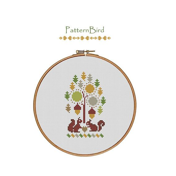 Squirrel Love. Instant Download PDF Cross Stitch by PatternBird