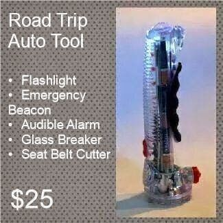 Our auto emergency tool belongs in the center console of EVERY vehicle you and your loved ones use. This life-saving product is a no-brainer for safety-conscious drivers! Features: LED emergency beacon magnetic head that will stick to your vehicle, glass-breaker, seat-belt cutter, 3-bulb LED flashlight, alarms.