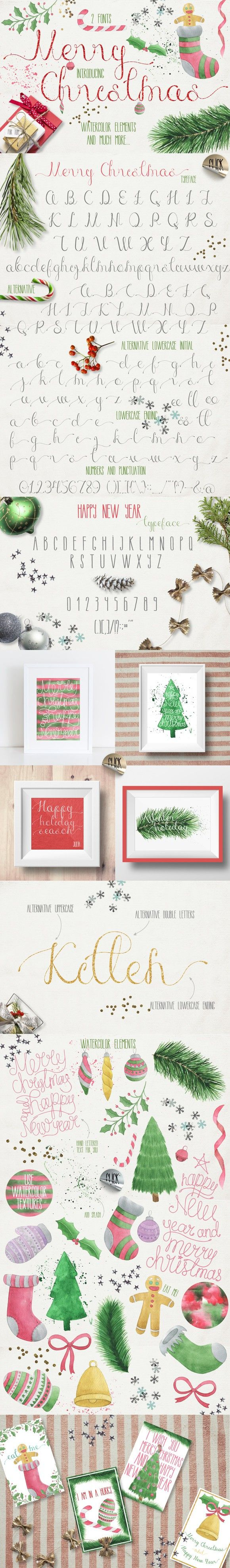 Merry Christmas [2 fonts]+Free Goods. Fonts. $12.00