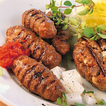 Grilled Cevapcici : handmade sausages, national dish from croatia