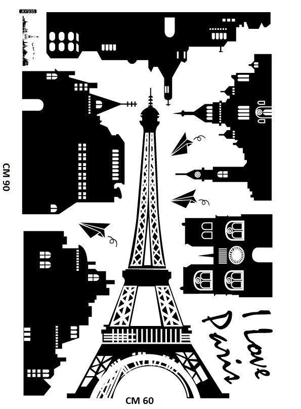 WALL STICKERS ADESIVI PARIGI CITTA  DECORAZIONI MURALI CAMERETTA BAMBINI AY935x