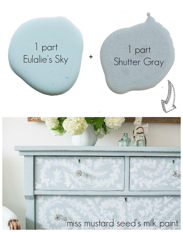 Bespoke Robin's Egg Blue mixture using Shutter Gray and Eulalie's Sky MMS Milk Paint.