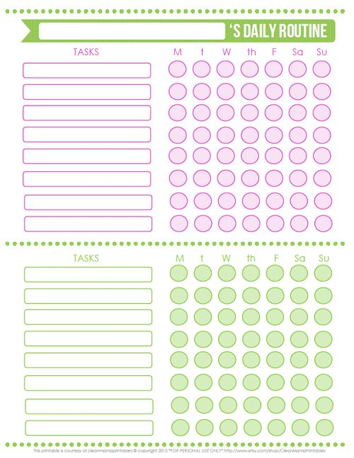 Pink + Green Daily Routine Chart