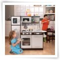 KidKraft Espresso Toddler Play Kitchen with 11 pc. Food & Metal Accessory Set - Play Kitchens and Grills at Play Kitchens