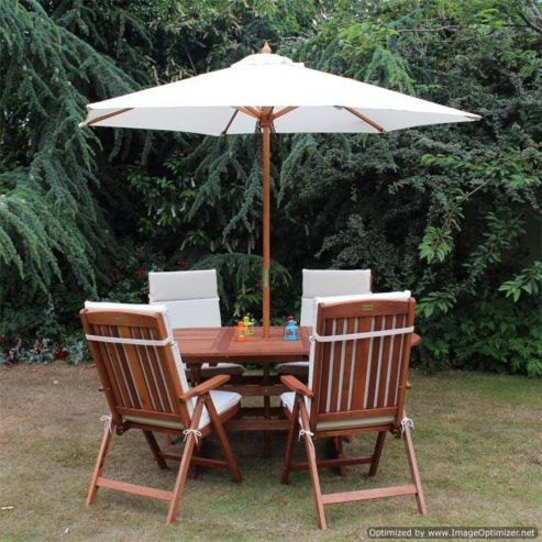 Buy BillyOh Prestige 1.8m Oval Extending 4 Seater Garden Furniture Set with Cushions & 2.5m Parasol from our Garden Chairs range