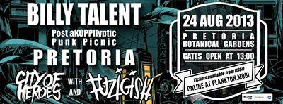 Billy Talent Post aKOPPIlyptic Punk Picnic - Live Music@Pretoria National Botanical Gardens - Events - Johannesburg Live