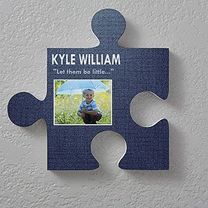 Name & Photo Personalized Puzzle Piece Wall Décor- Textured Design