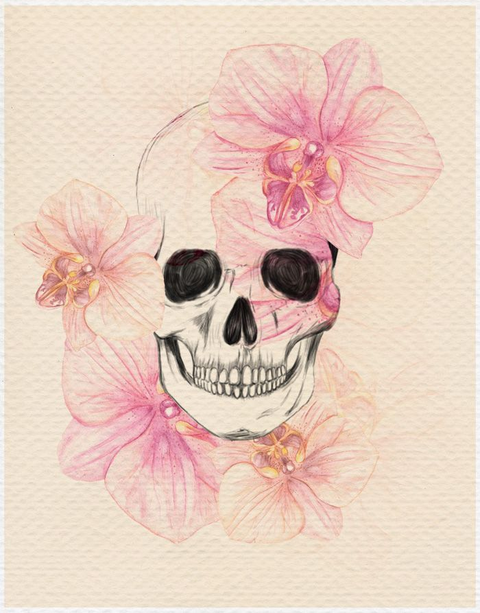 skull with orchids…I want something similar to this on my forearm…maybe with the water color theme though