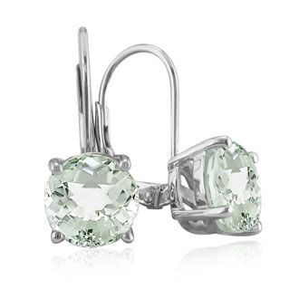 Can't beat the prices of jewelry at SuperJeweler! (oh, and free shipping) Huge 5ct Round  Green Amethyst  Leverback Earrings in Sterling Silver, Featured on CBS Good Morning