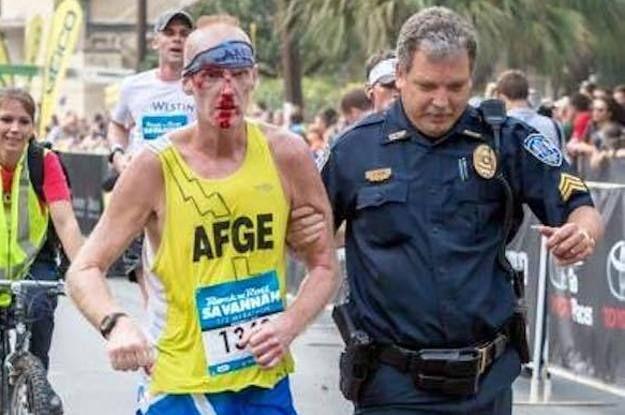 Injured Runner Finished Marathon W/ A Cop's Help at Savannah Rock 'N' Roll Marathon