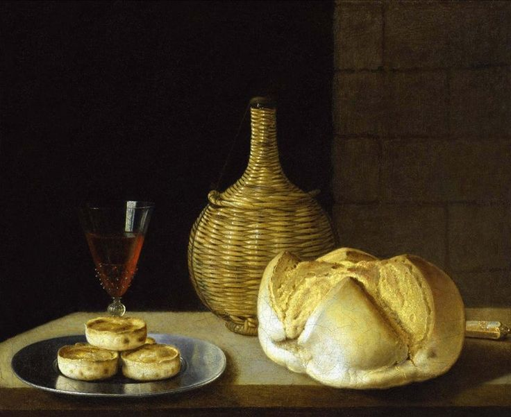 SEBASTIAN STOSKOPFF (Strasbourg 1597 - 1657 Idstein)  A flagon of wine, a wine glass, a loaf of white bread, a knife and pies on a pewter plate, on a stone ledge with a wall behind Oil on canvas, 48.9 x 61cm, signed indistinctly on lower left  ©Robilant+Voena Antiquari