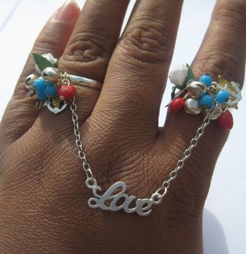 Double Finger Tattoo Inspired Ring Charms Heart Anchor by PhatGrrl