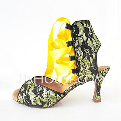 Dance Shoes - $33.99 - Women's Lace Sandals Latin With Ankle Strap Dance Shoes (053016422) http://jjshouse.com/Women-S-Lace-Sandals-Latin-With-Ankle-Strap-Dance-Shoes-053016422-g16422