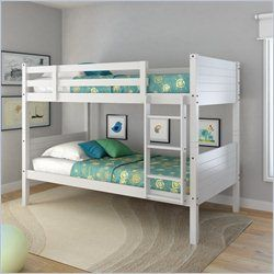 $669 -  Sonax CorLiving Ashland Twin Single Panel Bunk Bed in Snow White