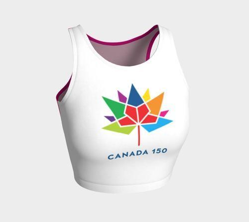 Canada 150 White and Fuschia Crop Top