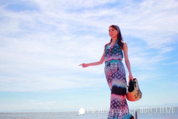 Long dress and sky and sea/ロングドレスと空と海   #海  #輝く  #光る  #雲  #日本  #Japan  #知多半島  #知多  #野間  #空  #スカイブルー  #マリンブルー  #ブルー  #ロングドレス  #モデル  #女性  #Sea  #Shining  #Shiny  #Cloud  #ChitaPeninsula  #Chita  #Noma  #Sky  #Clouds  #SkyBlue  #MarineBlue  #Blue  #LongDress  #Models  #Female  #Fashion  #ファッション  #Canon  #EOS  #60D  #outdoor