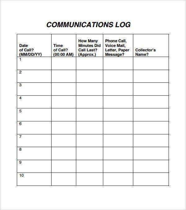 10 Communication Log Templates Templates Printable Free Templates