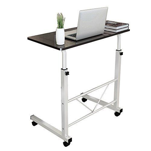 "New Laptop Standing Portable Desk, Adjustable 31.4"" Medium Size w/ Wheels, Black #Dland"