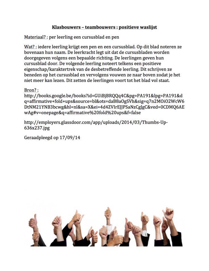 Klasbouwers - teambouwers : positieve waslijst