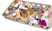 Entire rooms of furniture for a dollhouse made from cardboard, DIY