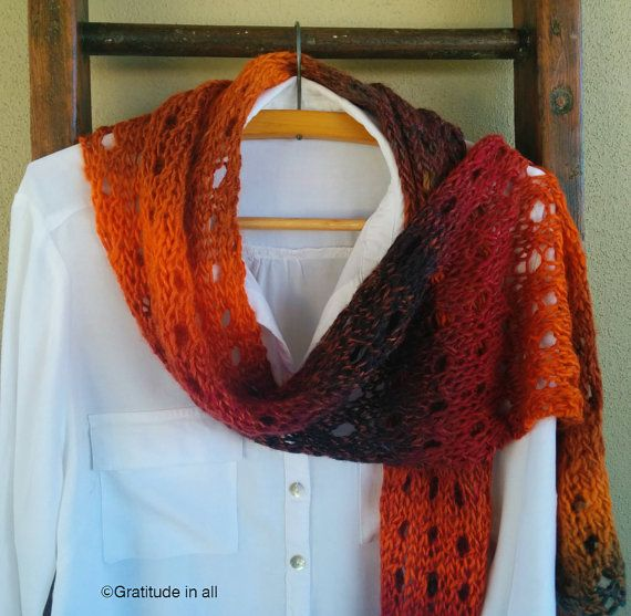 """Hand knitted scarf """"Russet"""""""
