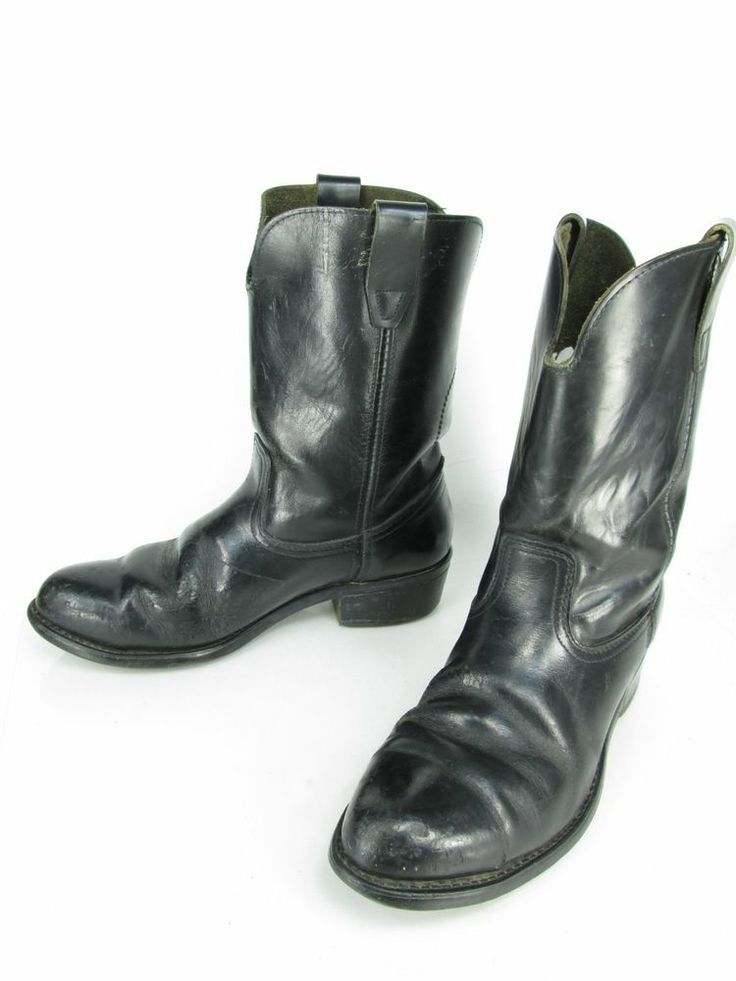 Mens Black Leather Vintage Steel Toe Cowboy Western Work Ranch Boots Sz 10.5 D