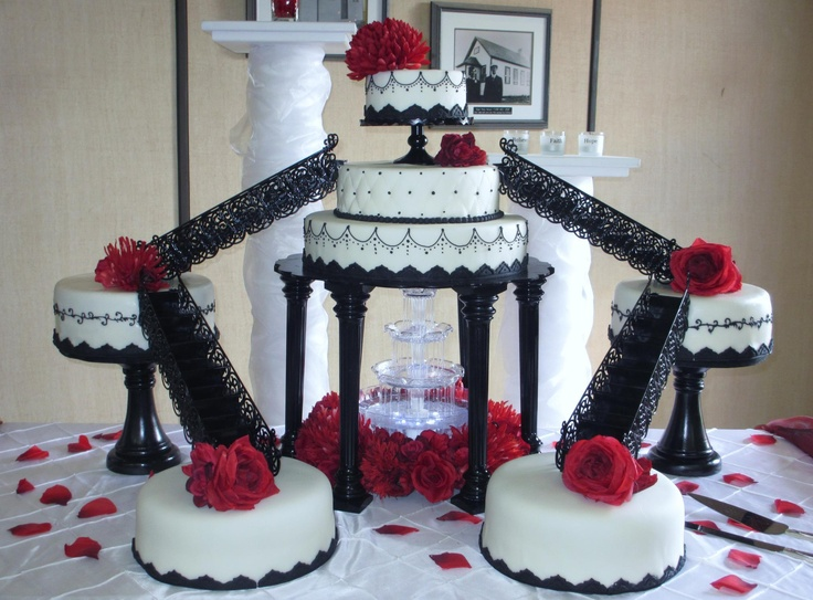 Red, Black, & White Fountain Wedding cake By Today's Sweet Cakery