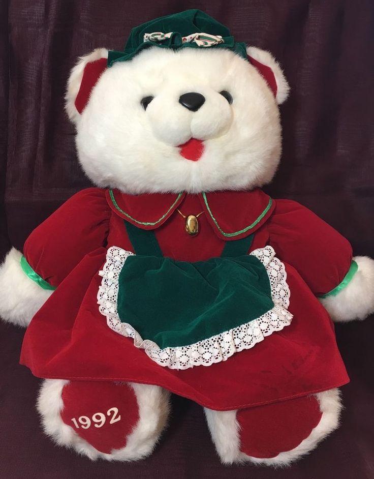 """Christmas Kmart Plush Teddy Bear 1992 Vintage 20"""" Apron  #Kmart #Christmas"""