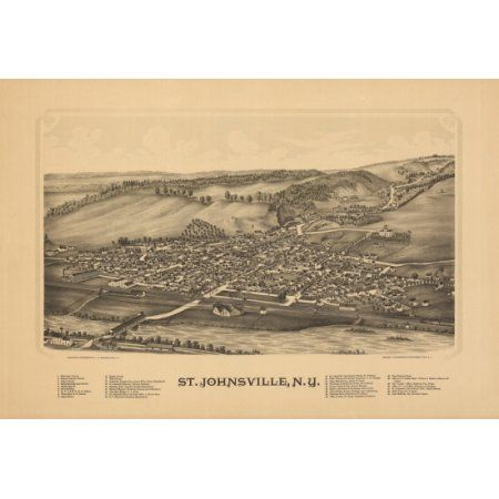Old Map of St Johnsville New York 1890 Montgomery County Canvas Art - (18 x 24)