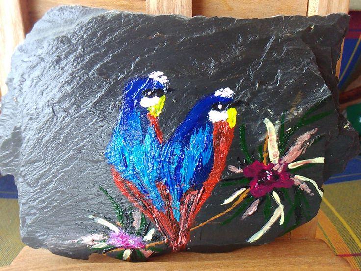 """PEINTURE SUR PLAQUETTE DE SCHISTE """"BERGERONNETTE PRINTANIERE"""" : Peintures par aladybird"""